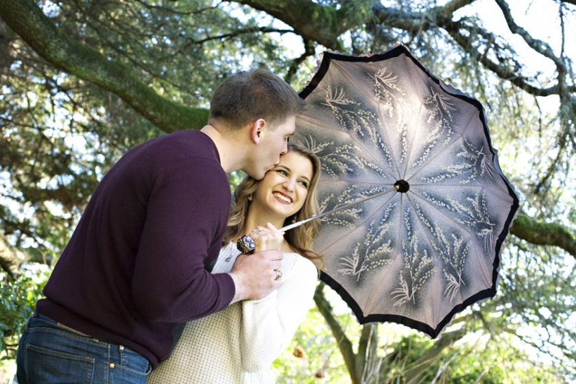 Engagement Portrait with Umbrella Parsons Garden Seattle
